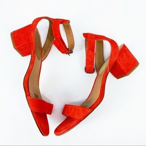 •Madewell• Angie Red Suede Block Heel Sandals